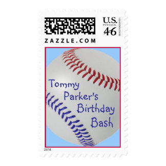 Baseball_Color Laces_All-American_personalized Postage Stamp