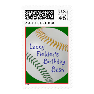Baseball_Color Laces_GO_GR_personalized Postage Stamps