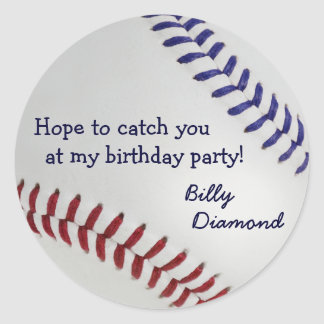 Baseball_Color Laces_nb_dr_Birthday party Classic Round Sticker