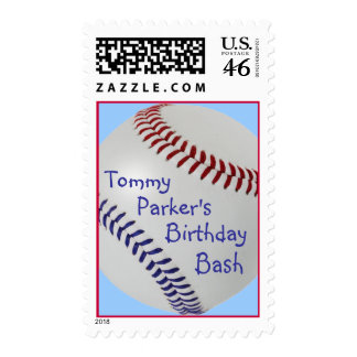 Baseball_Color Laces_NB_DR_personalized Postage Stamps