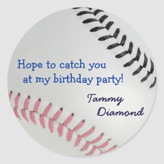Baseball_Color Laces_pk_bk _Birthday party Round Sticker
