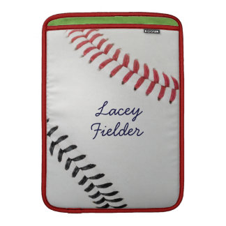 Baseball_Color Laces_rd_bk_autograph style 2 MacBook Air Sleeves