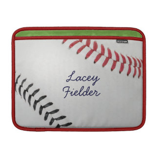 Baseball_Color Laces_rd_bk_autograph style 2 Sleeve For MacBook Air
