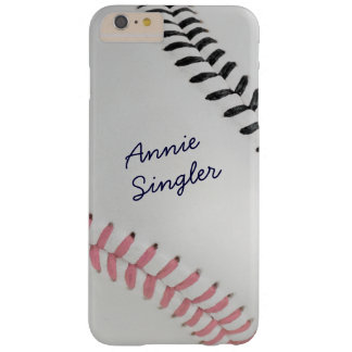 Baseball_Color Laces_Stitching_pk_bk_personalized Barely There iPhone 6 Plus Case