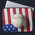 "Baseball Computer Sleeve<br><div class=""desc"">Baseball and broken knell over US flag.</div>"