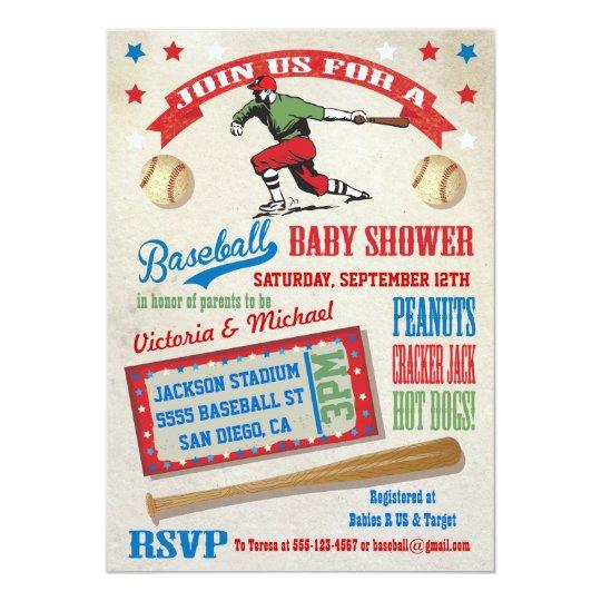 Baseball Couples Baby Shower Invitations