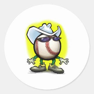 Baseball Cowboy Classic Round Sticker