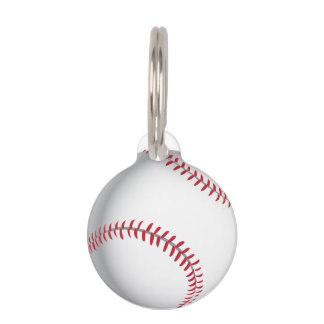 Baseball cricket ball image pet ID tag
