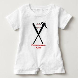 Baseball crossed bats and cap black, red custom baby romper