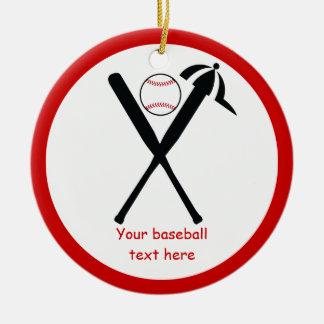 Baseball crossed bats and cap black, red custom ceramic ornament