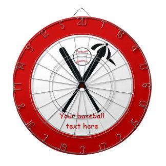 Baseball crossed bats and cap black, red custom dartboard
