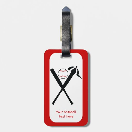 Baseball crossed bats and cap black, red custom luggage tag