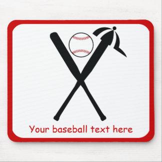 Baseball crossed bats and cap black, red custom mouse pads