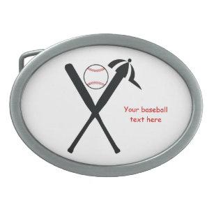 Baseball crossed bats and cap black, red custom oval belt buckle
