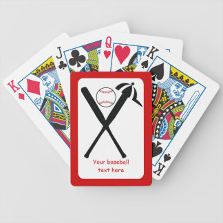 Baseball crossed bats and cap black, red custom bicycle playing cards