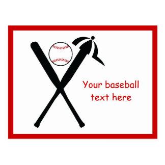 Baseball crossed bats and cap black, red custom postcard
