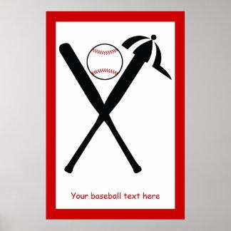 Baseball crossed bats and cap black, red custom poster