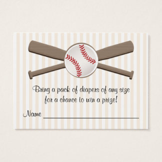 Baseball Crossed Bats Diaper Raffle Cards