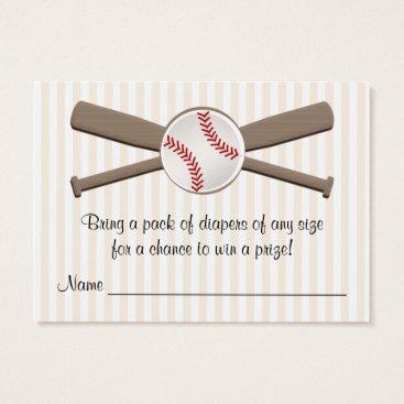 Toddler & Baby themed Baseball Crossed Bats Diaper Raffle Cards