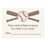 Baseball Crossed Bats Diaper Raffle Cards Large Business Card