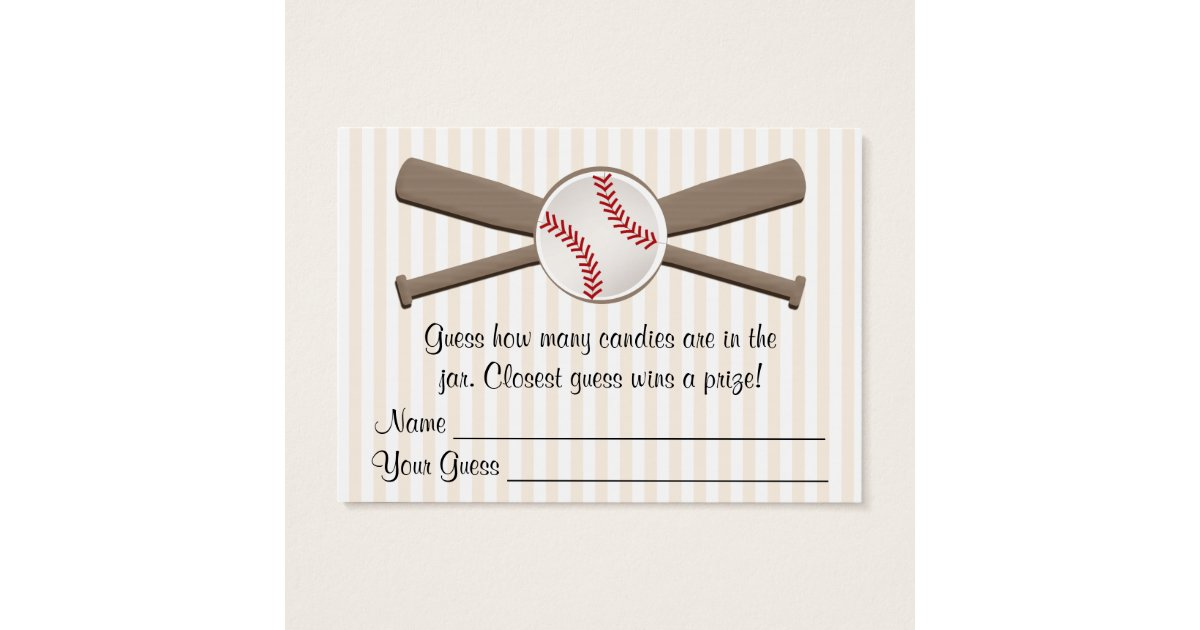 Baseball Crossed Bats Guessing Game Baby Shower Business Card ...