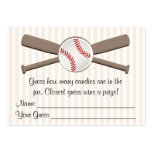 Baseball Crossed Bats Guessing Game Baby Shower Large Business Card