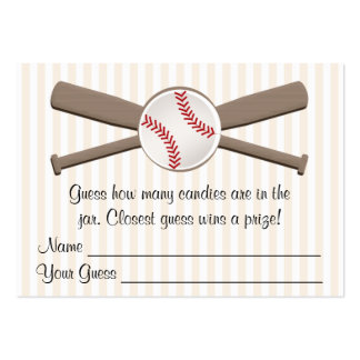 Baseball Crossed Bats Guessing Game Baby Shower Large Business Cards (Pack Of 100)