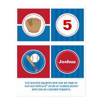 Baseball Cupcake Toppers or Tags Post Cards