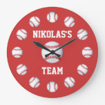 Baseball Custom Clock Personalized Name Location