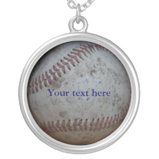 Baseball Customizable Silver Plated Necklace