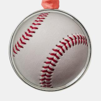 Baseball - Customized Round Metal Christmas Ornament