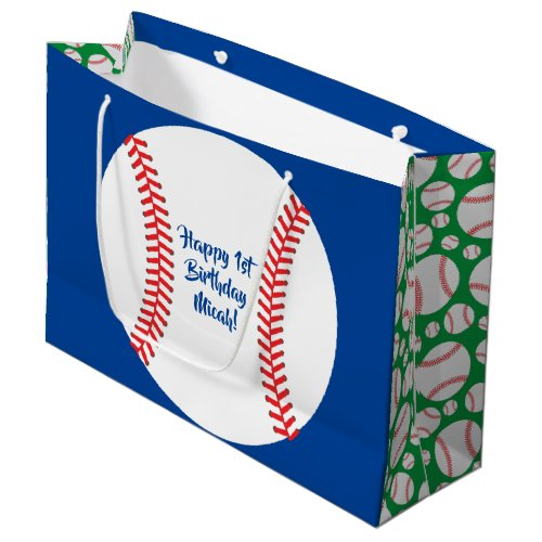 Baseball Cute Sports 1st Birthday Party Large Gift Bag