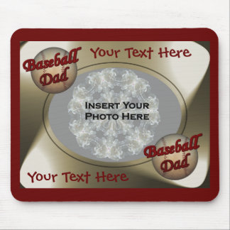 Baseball Dad Design Photo Mouse Pads