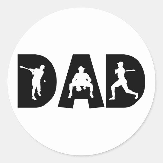 Baseball Dad Father's Day Classic Round Sticker