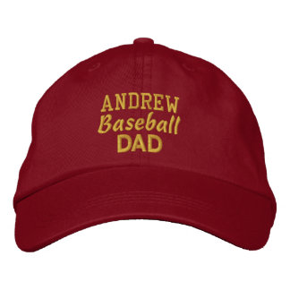 BASEBALL Dad RED Embroidered Hat with Custom Name