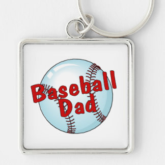 Baseball Dad Silver-Colored Square Keychain