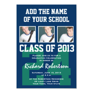 Baseball Dark Blue and Kelly Green Uniform Number 5x7 Paper Invitation Card