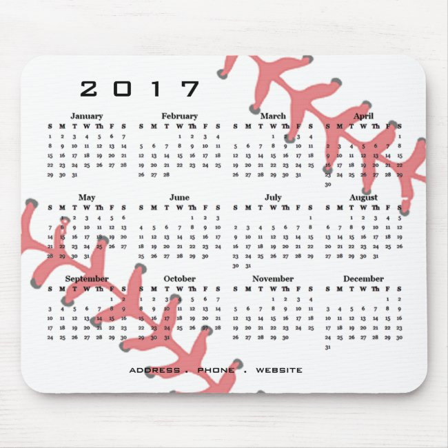 Baseball Design 2017 Calendar Mousepad