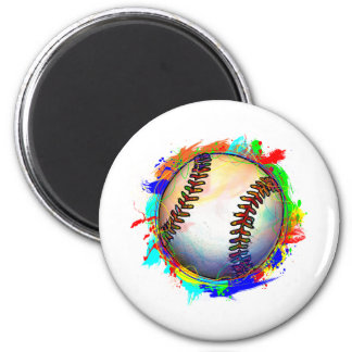 Baseball Design 2 2 Inch Round Magnet
