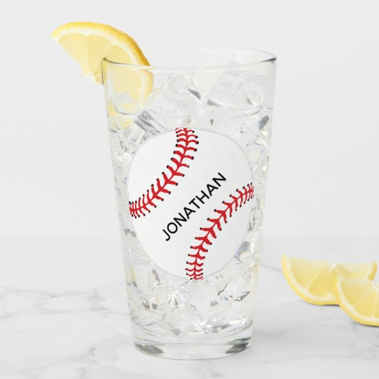 Baseball Design Drinking Glass