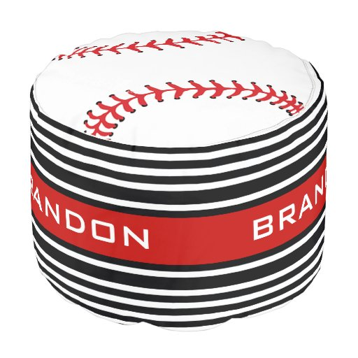 Baseball Design Round Pouf Zazzle
