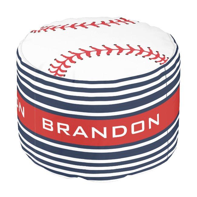 Baseball Design Round Pouf