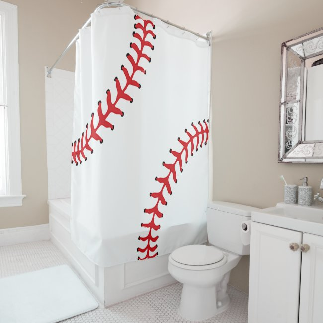 Baseball Design Shower Curtain