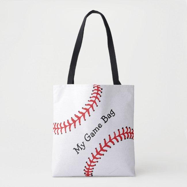 Baseball Design Tote Bag