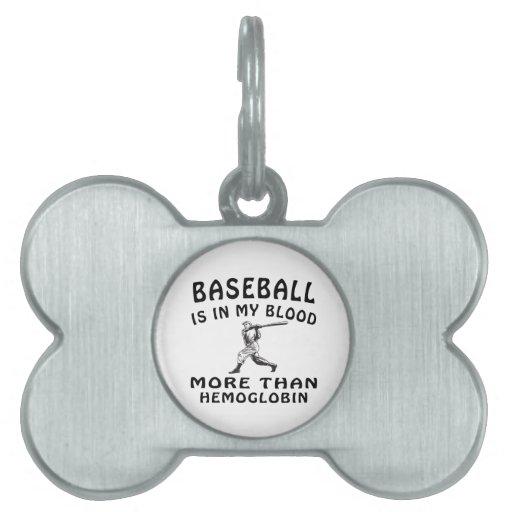 Baseball Designs Pet Name Tags