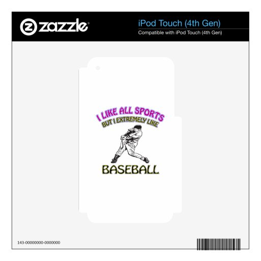 Baseball designs skin for iPod touch 4G