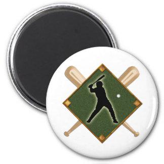 Baseball Diamond Batter 1 2 Inch Round Magnet