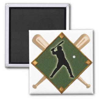 Baseball Diamond Batter 1 2 Inch Square Magnet