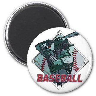 Baseball Diamond Batter 2 Inch Round Magnet