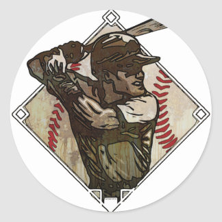 Baseball Diamond Batter Classic Round Sticker